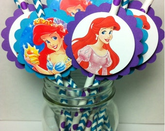 Princess Ariel PAPER STRAWS for Birthday Party