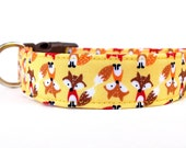 Fox Dog Collar / Red Fox Collar / Woodland Dog Collar / Adjustable Dog Collar / Yellow Dog Collar /