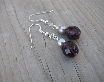 Purple and Silver Glass Beaded Earrings