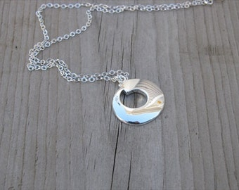 Silver Necklace with Round Silver Pendant