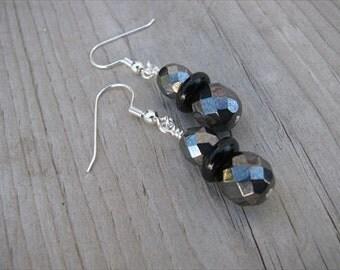 Hematite and Black Glass Beaded Earrings