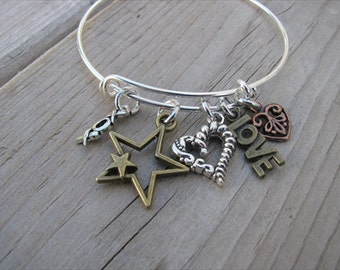 Mixed Metals Bangle Bracelet- Adjustable Bangle Bracelet with antique gold, copper, and silver charms- star, heart, LOVE, xoxo