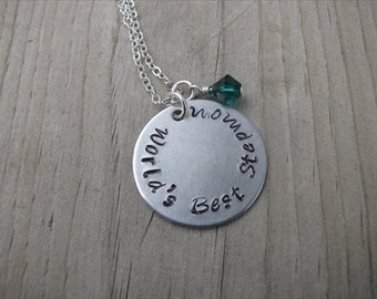 "Stepmother's Necklace- Hand-stamped ""World's Best Stepmom"" with a birthstone or accent bead of your choice"
