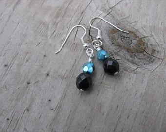 Metallic Turquoise and Black Glass Beaded Earrings