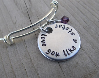 """Friendship Bracelet- """"love you like a sister"""" with an accent bead of your choice"""