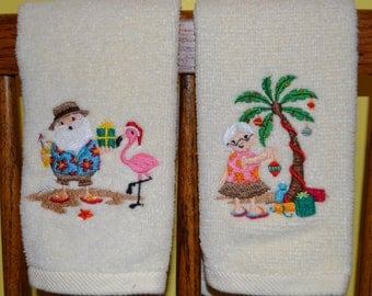 Tropical Mr. And Mrs. Santa Claus Towel Set