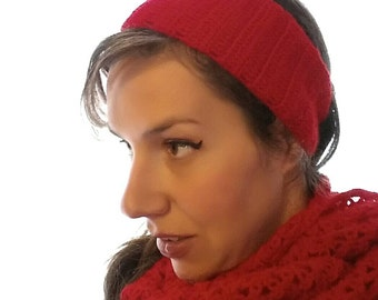 Set of Handmade red , cozy scarf /neck warmer and crochet headband/women/ready to ship/ free shipping for European Union