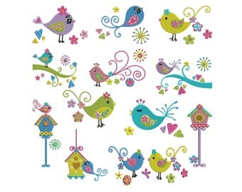 DIVA BIRDS - Machine Filled Embroidery - Instant Digital Download