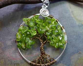 Petite-Mini-Small Peridot Tree of Life Pendant with Sterling Silver Chain--Wire Wrapped Peridot Gemstone Tree of life- August Birthstone