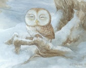 Sleepy Owl 8.5x11 Signed Print