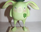SALE St Patty holiday Bunny with derby hat and clover by Janell Berryman Pumpkinseeds