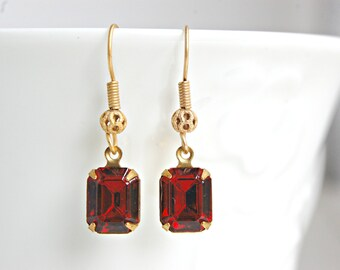 Red Rhinestone Earrings/ Red Art Deco Earrings/ Small Red Dangle Earrings/ Red Earrings for Women/ Downton Abbey Jewelry/ Rhinestone Jewelry