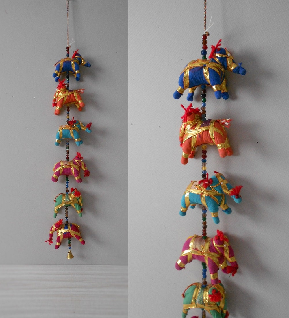 Hanging Indian Folk Art Plush Elephant Figurine String Of
