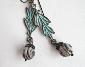 Olive Branch Banded Onyx Earrings - Verdigris - Natural Stone - Long Dangle