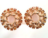 Vintage Gold Tone Rope and Citrine Rhinestone Clip Earrings Costume Jewelry