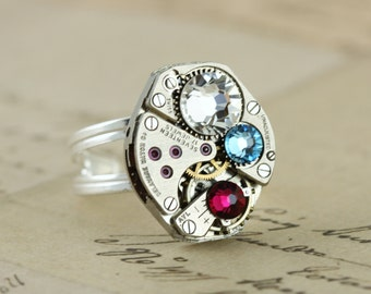 Mothers Ring Custom Birthstone Ring Steampunk Ring Sterling Silver Personalized Unique Ring Unique Jewelry Watch Ring Grandmothers Ring