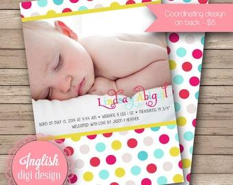 Cheerful Polkas Birth Announcement, Polka Dots Baby Announcement, Printable Polkas Baby Photo Announcement in Fuchsia, Red, Blue, Yellow