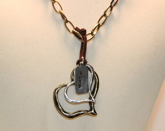 Mixed Metals double Hearts Necklace
