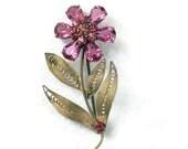 Vintage Pink Flower Pin Rhinestones and Spun Brass