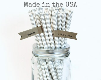 Grey Chevron Paper Straws, 25 Gray Straws, Gray Chevron Made in the USA Vintage Baby Shower Straws, Birthday, Rustic Wedding Party Supplies