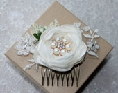 Ivory Rose Hair Comb, Bridal Hair Comb, Bridesmaids Hair Comb, Gift for Her, Bridal Hair Accessory