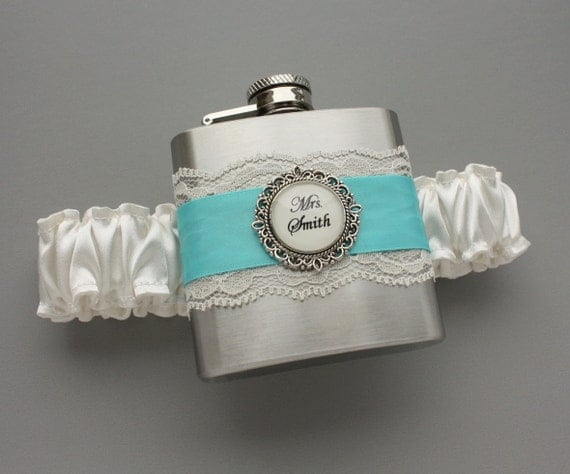 Something Blue Wedding GARTER FLASK - Bridal Garter with Personalized Flask - Blue Wedding Garter - Ivory & Diamond Blue - Custom Garter