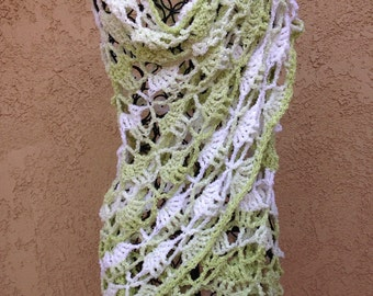 Green and white triangle shawl