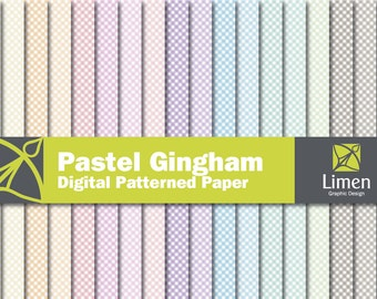Pastel Gingham Digital Paper Pack, Checkered Paper, Gingham Paper, Digital Gingham Pattern, Plaid Digital Paper, Gingham Scrapbook Paper