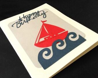 Handmade Birthday Card, Blank Inside, Nautical, Sailing, Sailboat on Waves on the Sea, Ocean Blue & Red
