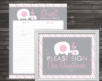 Elephant Baby Shower Guest Book Sign In Printable - Instant Download - Girl Baby Shower Sign - Pink and Gray Baby Shower Guestbook Sign