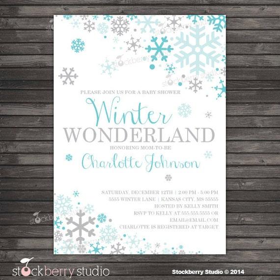 winter wonderland baby shower invitation boy snowflake baby shower