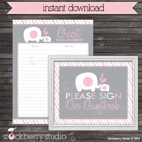elephant baby shower guest book sign in by stockberrystudio