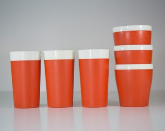 Orange GITS Ware Cups - Set of Six (6) Plastic Insulated Tumblers Made in USA - Orange and White - Mid Century Modern - Retro Kitchen