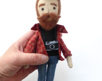 Male doll with beard, hipster art doll with beard and moustache, cool quirky doll, photographer