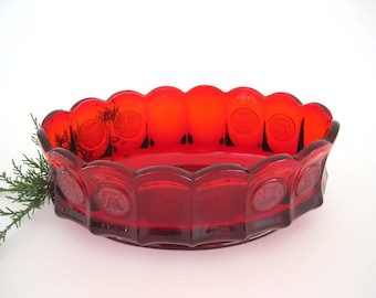 Vintage Ruby Red Fostoria Glass Bowl Oval Coins Pattern Scalloped 1970's Serving Centerpiece