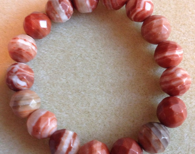 Canyon Agate 12mm Faceted Round Stretch Bead Bracelet