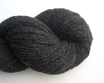 Heavy Lace Weight Merino Wool Recycled Yarn, Charcoal Gray, 710 Yards, Lot 020115