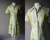 Vintage Lime Green Mad Men Dress - Plaid with Embroidery - Small / Medium