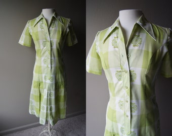 Vintage 60's Lime Green Dress Mad Men Dress Green Dress Cotton Dress Plaid Dress Small Dress Medium Dress Lime Dress Light Dress Summer