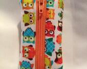Owl Chapstick Holder  USB Key Chain with Zipper