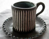 Hand-built Espresso Cup and Saucer with Sgraffito Design