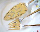 Vintage Wedding, Alice in Wonderland, Fairytale, Table Setting, Silverplate Cake Server, Cake Forks, Hand Stamped, PERSONALIZE and CUSTOMIZE