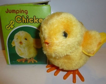 Jumping Chicken Vintage Wind Up Toy, 1986