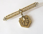 Art Deco Style Gold Bar Pin with Shield Dangle, White Rhinestone Faux Gold Marcasite, Edwardian Revival Brooch