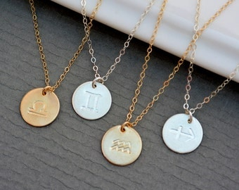 Zodiac Gold or Silver Necklace // Personalized Dainty Astrology Necklace / Horoscope Jewelry // Scorpio Aries Cancer // Astrology Jewelry