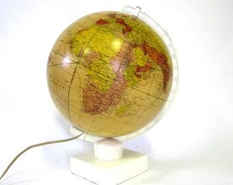 Vintage World Globe Modernistic Pst-WW2 c1946 Illuminated Glass Crams Unrivaled