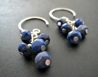 Lapis Lazuli Earrings | Cluster Earrings | Sterling Silver Earrings | Blue Lapis Earrings | Natural Gemstone Earrings | Cascade Earrings