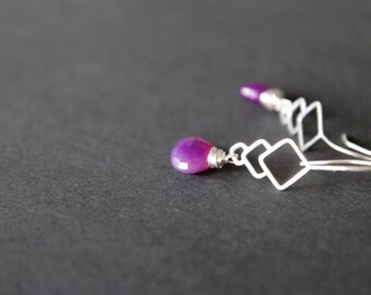 Sterlin silver 925 earrings with violet chalcedony