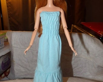 Rousched top knit dress in lite blue for Fashion Dolls - ed655