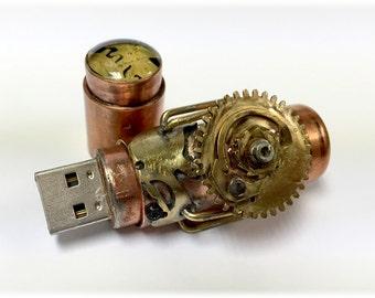 Steampunk 64GB USB Flash Drive Model 741 in a Tin Box